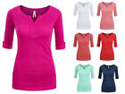 Kyпить Women's Basic Soft Cotton Stretch 3/4 Sleeve V-Neck T-Shirt Top Solid Colors  на еВаy.соm