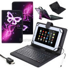 """For 9.7"""" 10"""" 10.5"""" Tablet Protect PU Leather Case Cover USB With Keyboard+Pen US"""
