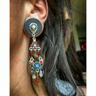 Ever-Changing Organic Ebony Wood Plugs with Colorful Psychedelic Dangles - Sizes