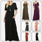 Zenana  Women's Long Maxi  Dress  Short Sleeve with Side Pockets(S-XL)