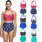 Lady Swimwear High Waisted Bikini Retro Rockabilly Polka Dot 50s Style Swimsuit