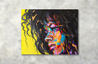 African American Afro Hair Black Girl Abstract Art Wall Decor Painting Canvas
