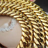 """23.6"""" Mens Heavy 18k Yellow Gold Filled Euro Link Chain Necklace 120g"""