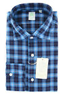 New $375 Finamore Napoli Turquoise Plaid Shirt - Extra Slim - (2018022827)