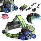 38000LM 3 x T6 LED Tactical Headlamp Headlight Lamp Rechargeable  Charger USA