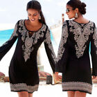 Boho Womens Plus Size Summer Lace-up Beach Wear Sundress Cover UP Mini Dress