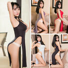 Women Sexy Sheer High Side Split Dress Low Cut Long Cheongsam Lingerie Clubwear