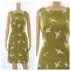 ex White Stuff Embroidery Swallows Pockets Olive Pencil Versatile Dress