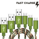 3 Pack CAMO Tactical 4,6,10ft  Micro USB FAST Charger Cable for Samsung Phones