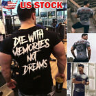 USA Men Muscle Short Sleeve Top Bodybuilding Gym T-shirt Casual Fit  TOP T-Shirt image