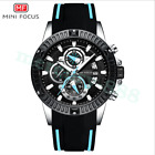 2019 New Mens Chronograph Watch Mini Focus Black Silicone Band and Dial 3ATM