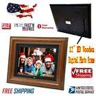 12 Wooden HD LCD Digital Photo Frame Picture Alarm Clock Multimedia Playback H8