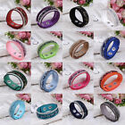 1pc Fashion Rhinestone Velvet Leather Wrap Wristband Cuff Punk Bracelet Buckle