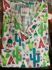 SCRUB TOP SIZES: L, XL OWLS IN CACTUS NWT NURSE MEDICAL CNA WORK UNIFORM VET