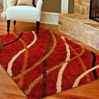 RUGS AREA RUGS SHAG RUG CARPET 5x7 RED LIVING ROOM MODERN LARGE FLOOR 5x8 RUGS ~