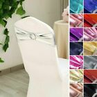 Metallic Spandex Chair Sashes with Silver Round Buckles Wedding Decorations Sale