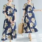 2019 Summer New National Style Women's Retro large size Cotton Linen Loose Dress