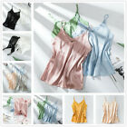 Women Silk Satin Camisole Plain Vest Strappy Sleeveless Tank Blouse Casual Tops