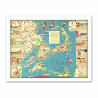 Colonial Craftsman 1940 Map Cape Cod MA USA Large Framed Art Print