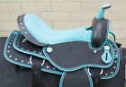 """USED 16"""" BLUE SHOW HORSE SADDLE WESTERN SYNTHETIC BARREL TRAIL LIGHT WEIGHT"""