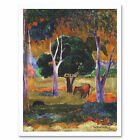 Paul Gauguin Landscape With A Pig And A Horse Hiva Oa Art Print Framed 12x16