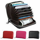 Women Men Leather Wallet Zipper RFID Blocking ID Credit Card Cash Holder Purse