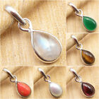 Drop Shape Pendant, 925 Silver Plated Moonstone & Other Gem Choice Birthday Gift