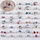 5-100pcs Wholesale Lots Mixed Jewelry Cz Crystal Rings Children Kids Band Ring