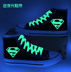 Black High Top canvas Luminous shoelace shoes Superman printing sneakers