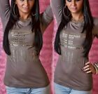 Sexy Miss Mujer Glamour Camiseta Oro Remaches Estrás Top S/M 34/36 M/L...