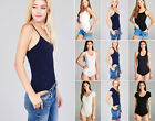 Women's Bodysuit Top Solid Colors Basic Stretch Cotton Tank Cami or Short Sleeve