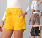 Women's Paperbag High Waist Shorts Tie Front Linen Solid Colors Casual Belted