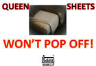 Won't Pop Off Queen Bed Sheets Deep Pocket 100% Cotton White Cream All Queen image