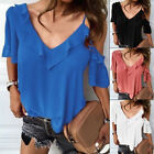 V neck Tops Blouse Sling Spaghetti strap Summer Casual Women Cold shoulder
