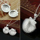 Women Silver Picture Locket Hollow Heart Photo Pendant Chain Openable Necklace