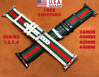 Gucci Stripe Pattern Sport Replacement Leather Watch Band Strap For Apple Watch  image