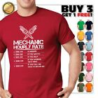 Funny Mechanic Hourly Rate Gift Shirt Labor Rates T-Shirt image