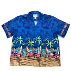 KYS Hawaiian Mens Shirt Blue Cars Surfboards Girls Border Print