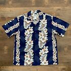KYS Hawaiian Mens Shirt Blue Hibiscus Floral Panel Print