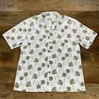KYS Hawaiian Mens Shirt White Palm Trees All Over Print
