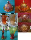 MARIGOLD CARNIVAL AMBERINA DECANTER FOOTED BOWL DOME BUTTER DISH PITCHER PICK1
