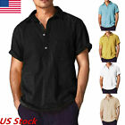 Men's Summer Casual Cotton&Linen T-Shirt Mens Loose Short Sleeve Tops Tee Blouse image