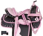 Black Brown Synthetic Trail Horse Gaited Used Western Saddle Tack 15 16 17 18