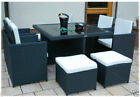 RATTAN GARDEN FURNITURE CUBE SET CHAIRS TABLE OUTDOOR PATIO