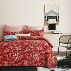 Twin Full Queen King Red Tan Gold Vintage Floral 3 pc Quilt Coverlet Set Bedding image