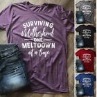 Summer Women Letter Printed Casual Tops Loose Fit Funny Mom Life Tee T-shirt
