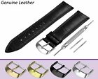 For MEISTER SINGER Black Genuine Leather Watch Strap Band Buckle Clasp