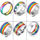 Men Women Colorful Rainbow Stainless Steel Ring Band Lesbian & Gay Couple Rings