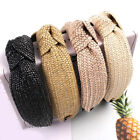 Handmade Weaving Straw Cross Knotted Headband Bohemian Wide Hair Band Hair Hoop