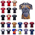 Men Gym 3D Printed T-shirts Compression Superhero Avengers Marvel Muscle Tops